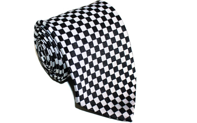 Masonic Black and White silk Tie
