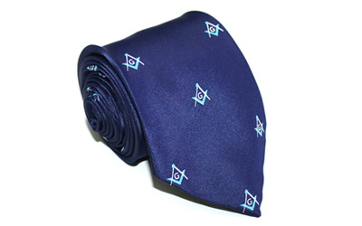 Masonic Craft Woven Square Compasses with G Necktie - Navy Light / Blue
