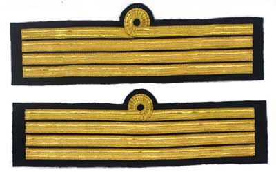 Cuff Rank Sleeve 1Curl 3 Bars Gold Captain