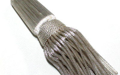 Silver Metallic Tassels Coiled Bullion Strands French Silver Tassel