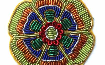 Hand Embroidered Colorful Flower Bullion Badges