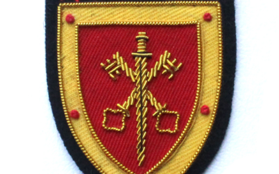 Hand Embroidery Cross Key With Sword Bullion Badge