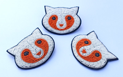 Handmade embroidery brooch badges
