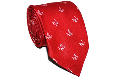 Masonic Craft Red 100% Silk Tie with Square Compass & G Print