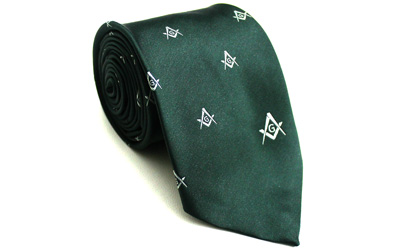 Masonic Regalia Silk Tie Embroidered Square Compass & G Green