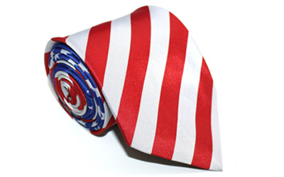 Masonic Freemason Mason American Flag Tie with Past Master Logo