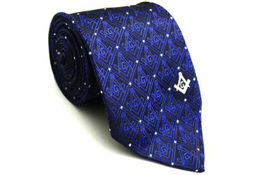 Masonic Tie with Square Compass with G Blue
