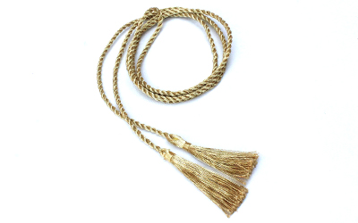 Thin Metallic Cord with 3.5 Tassels