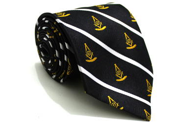 Masonic Past Master Logo Mens Necktie Striped Lodge Fraternity Freemason