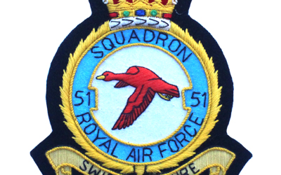 Royal Air Force Squadron 51 Embroidered Badge