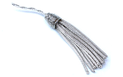 French Silver Metallic Bullion Tassel