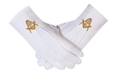 WHITE MASONIC GLOVES WEDDING CADET MASON MARCHING COMPASS