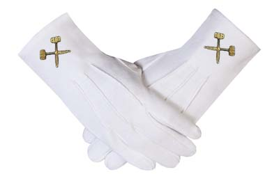 High Quality Masonic Shriner Emblem White Glove Masonic Glove
