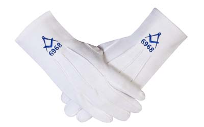 Custom Masonic Cotton Gloves with Square & Compass Lodge Number