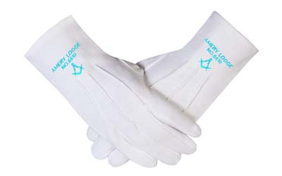 Masonic Gloves with Personalized Lodge Name & Number