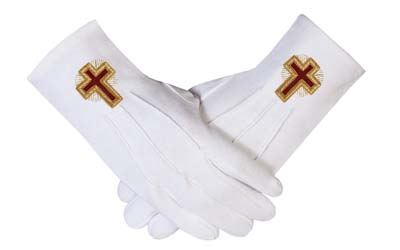 Eminent Commander White Cotton Masonic Regalia Gloves
