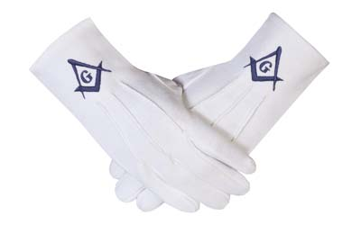 Freemason Masonic Regalia Gloves in Cotton with Blue Sq & CG