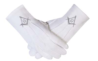 Freemasons Masonic Gloves in Cotton in Silver Embroidered Square Compass and G SC&G