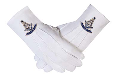 Masonic Past Master Square & Compass Symbol Dacron Fabric Gloves Masons Regalia