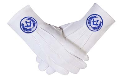 Masonic Regalia White Cotton Gloves Square Compass machine embroidery