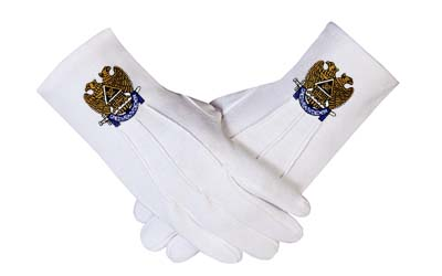 Masonic Scottish Rite 32 Degree Consistory Cotton Fabric Gloves Mason Regalia