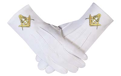 MASONIC FREE MASON FREEMASON WHITE DRESS GLOVES FREEMASONRY