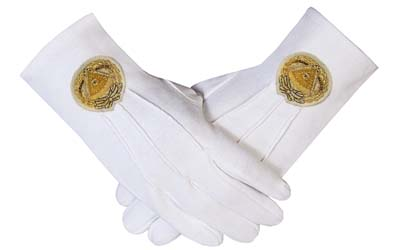 Cotton Masonic Gloves Grand Master Bullion Embroidery