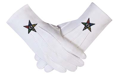Masonic Regalia OES Order of the Eastern Star 100% Cotton Gloves