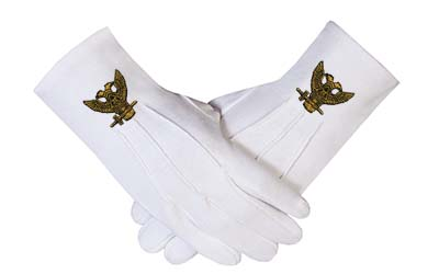 32 DEGREE WINGS UP & SCOTTISH RITE MASONIC EMBROIDERED GLOVES