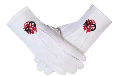 RAOB Red Black Machine Embroidery White Cotton Gloves