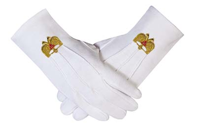 Hot Selling Cheap Hand Embroidered Scottish Rite Masonic Cotton Gloves