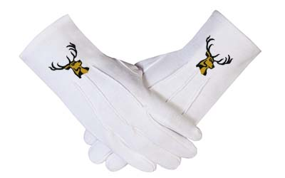 Masonic Regalia Ceremonial Machine Embroidered Cotton Gloves