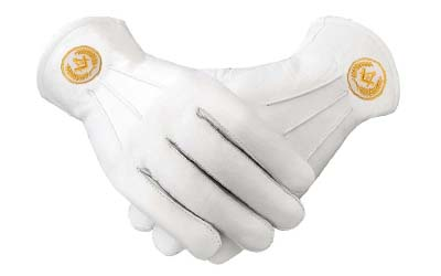 Masonic Regalia White Soft Leather Gloves Square Compass & G