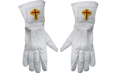 Knights Templar High Quality White Leather Gauntlet Gloves with Cross Emblem