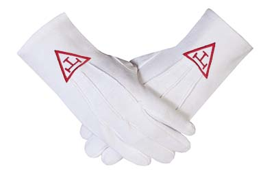 High Quality Masonic Royal Arch Cotton Gloves with beautiful Embroidery Logo Red