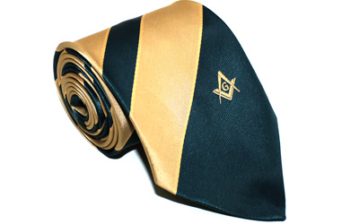 New Design Masonic Masons Green and Yellow Tie with Square Compass & G