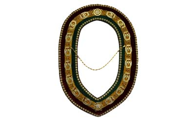Masonic Shrine Officer Chain Collar in Gold Finish with Stones - Tri-Color Backing
